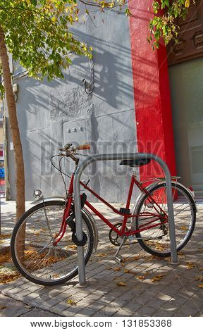 Valencia Barrio del Carmen street bicycle in old town of Spain