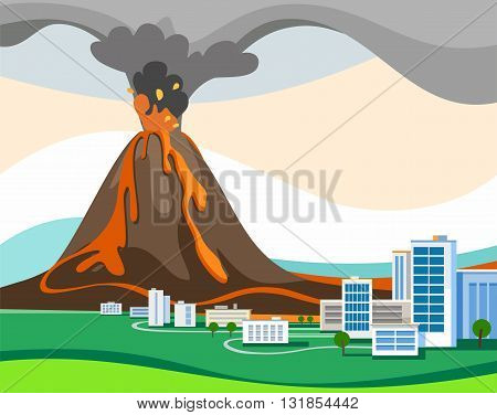 The eruption of the volcano, colored picture, vector. From a volcano is ash and fiery magma. At the foot of the volcano lies the green valley. In the valley stands the city. A natural disaster. Flat style.