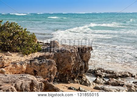 Rocky coastline in Grand Turk an island in the Turks & Caicos islands.