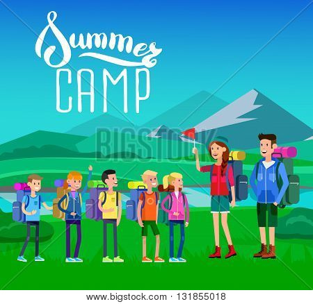 vector illustration of kids summer camp on beautiful landscape . Vector characters   camp counselor and children. Camping banner and icon. Vector kids summer camp. Illustration summer camp