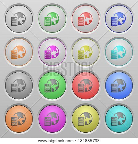 Set of web hosting plastic sunk spherical buttons.