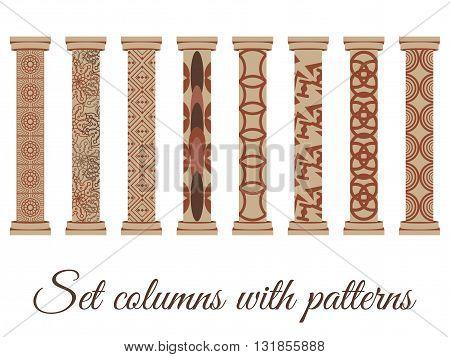 Column. Doric Roman style. Set of columns. Vector illustration.