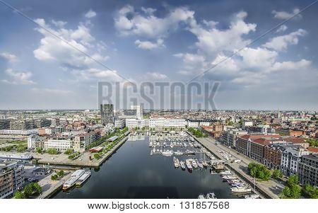ANTWERPEN BELGIUM MAY 12 2016 View of the harbor and city from the Museum aan de Stroom MAS