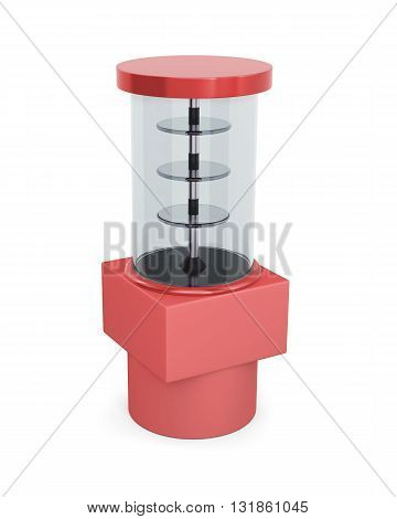 Empty gassed showcase with shelves isolated on a white background. 3d rendering.