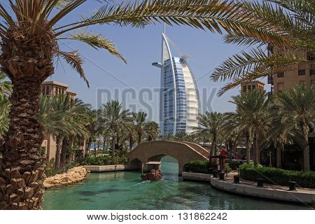 DUBAI, UAE - MAY 14, 2016: view on Burj Al Arab hotel in Dubai