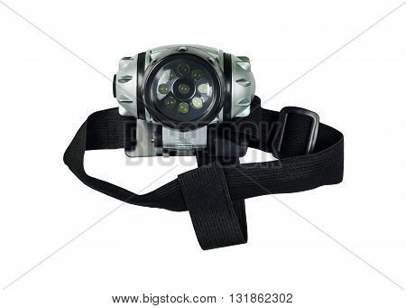Head lamp with elastic strap isolated on white background