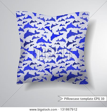 Creative sofa square pillow. Decorative pillowcase design template. Pattern with dolphins on a light background. Vector illustration.