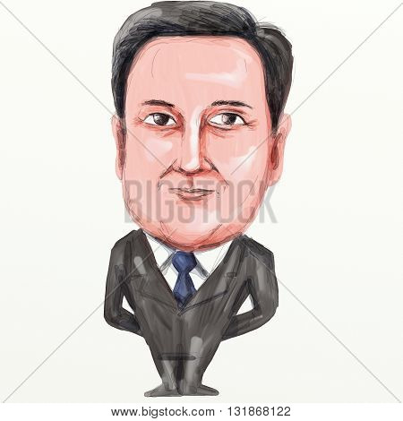 MAY 30, 2016: Caricature illustration of David William Donald Cameron English politician and Prime Minister of the United Kingdom leader of the Conservative Party and British Member of Parliament (MP) standing viewed from front on isolated background done