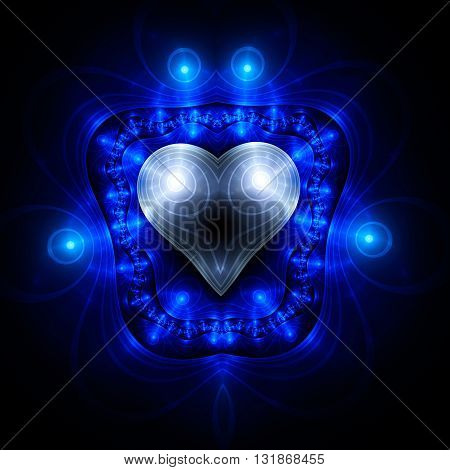 Heart in frame. Electromagnetic shield. Kabbalistic sign. Mysterious psychedelic relaxation wallpaper. Fractal abstract pattern. Digital artwork creative graphic design. poster
