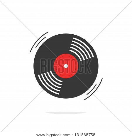 Vinyl record vector icon gramophone record symbol rotating record vinyl disc flat vinyl lp cartoon vinyl record label cover emblem modern simple illustration design isolated on white