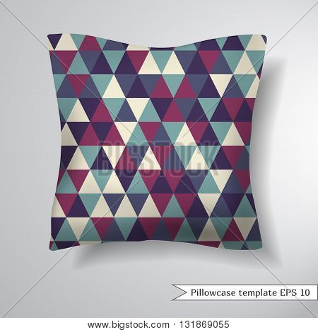 Creative sofa square pillow. Decorative pillowcase design template. Simple geometric pattern of triangles in retro style Vector illustration.