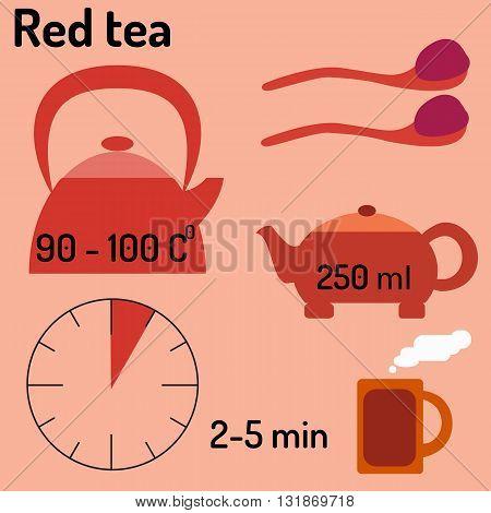 Red tea. Tea infographic. How to make tea. Vector illustration