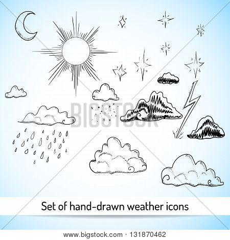 Set of hand-drawn weather icons. Sketch style. Vector illustration