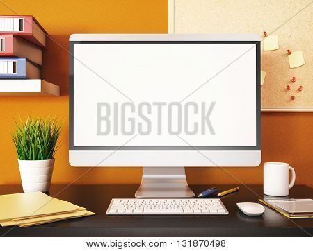 3D illustration office with blank computer screen. Mockup