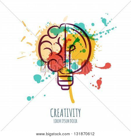 Vector Watercolor Illustration Of Brain And Light Bulb. Abstract Watercolor Background With Human Br