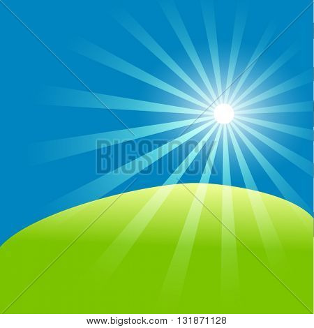 Green field and blue sky with summer sun burst. Vector illustration.