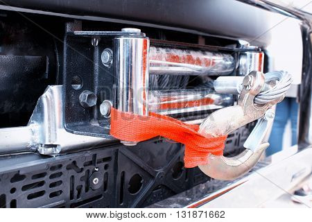 Close up of car tow rope with hooks