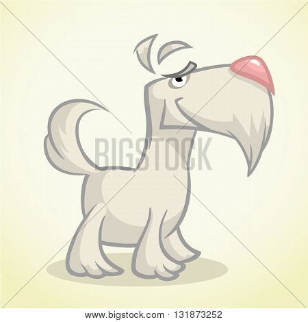 Cute cartoon white scottish terrier. Vector white Scottie dog