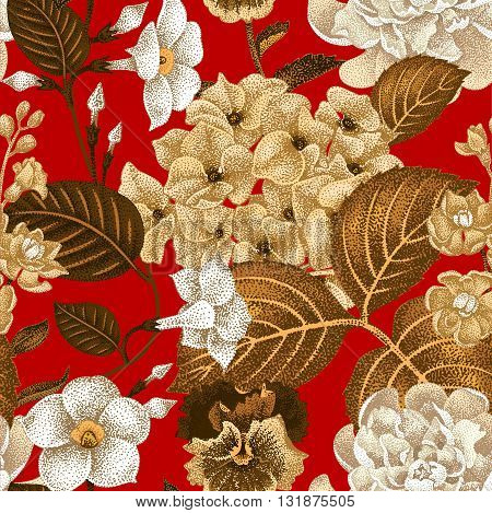 Garden hydrangea flowers violet bindweed gillyflower on red background. Vector. Seamless floral pattern. Illustration - luxury packaging design template textile paper wallpaper.