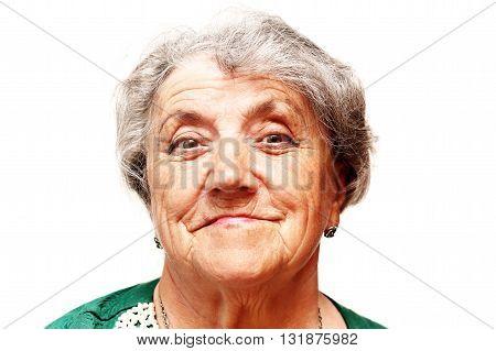 Gracious senior lady portrait on white background