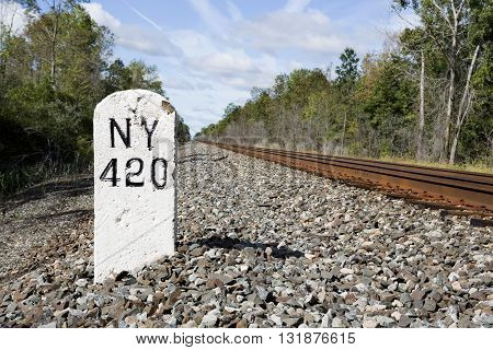 Mile marker 420 on the former rail line running between New York City and Buffalo NY. This rail line has been in place since the early 1900s.