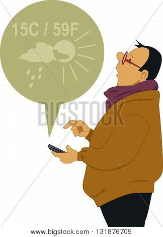 Man checking the weather on his smart-phone