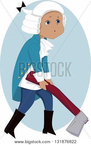 Little kid in George Washington costume holding a big hatchet