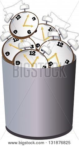 A garbage bin filled with alarm clock as a metaphor for wasting time