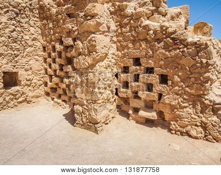Masada fortress in Israel, ruins of ancient columbarium for raising pigeons