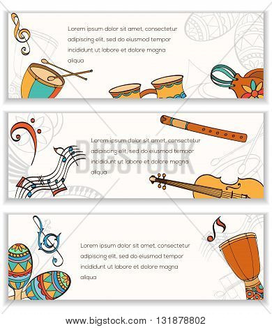 Latino banner. Frame of latino musical instruments. Latino banner can be used as invitation card for wedding, birthday and other holiday and musical background. Vector illustration.