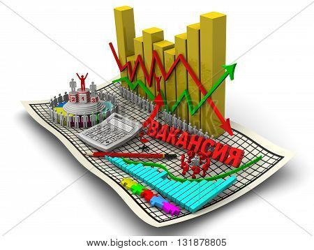 Change in unemployment. Golden charts with arrows of change data indicators electronic calculator a red pencil symbol of man round diagram red word vacancy (Russian language) on the sheet in a cage. The concept of change in the unemployment rate. Isolated