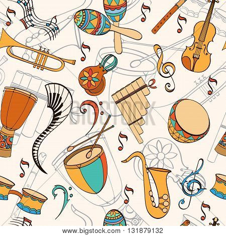 Latino musical pattern. Pattern of latino musical instruments. Latino background can be used as invitation card for wedding, birthday and other holiday and summer background. Vector illustration.