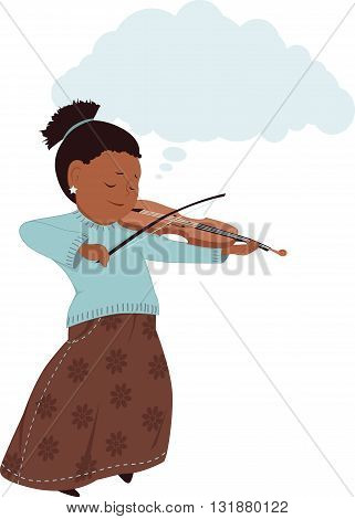 Artistic imagination. Little girl in a long skirt playing violin, copy space in a shape of a cloud over her head