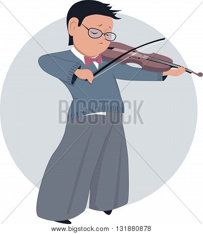 Little boy playing violin, EPS8 vector illustration
