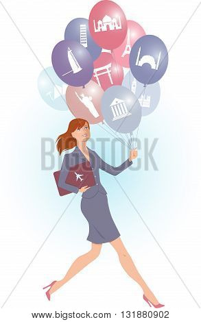 Travel agent carrying balloons with tourist destinations icons, vector cartoon