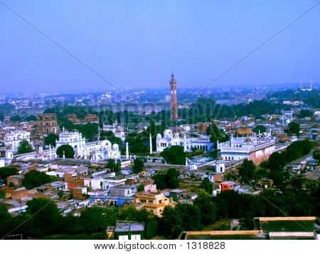 Aerial View Of Old Lucknow Showing Clock Tower