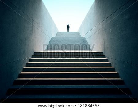 Success business concept. People climbed on top of the stairs. 3d render