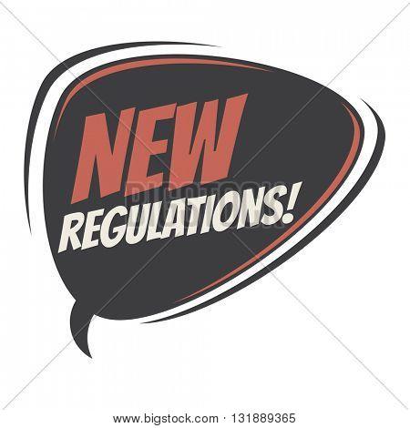 new regulations retro speech bubble
