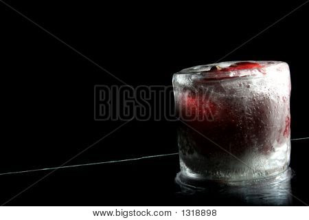 Frozen Apple Standing On Reflection