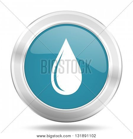 water drop icon, blue round metallic glossy button, web and mobile app design illustration