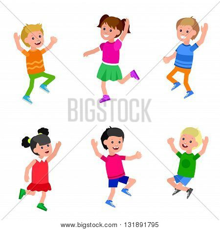 Cute vector character child in action. Cheerful active child run and jump. Happy kid illustration. Detailed character child. Vector for Celebration children day, fun child.