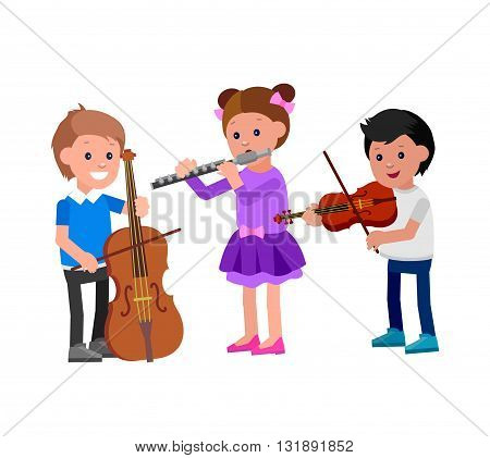 Cute vector character child. Happy kid team playing on contrabass, on flute, playing on violin. Education and child development. Banner for kindergarten, children club or school of Arts, music school