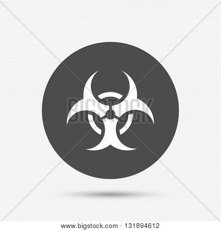 Biohazard sign icon. Danger symbol. Gray circle button with icon. Vector