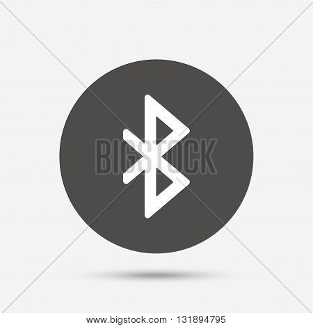 Bluetooth sign icon. Mobile network symbol. Data transfer. Gray circle button with icon. Vector