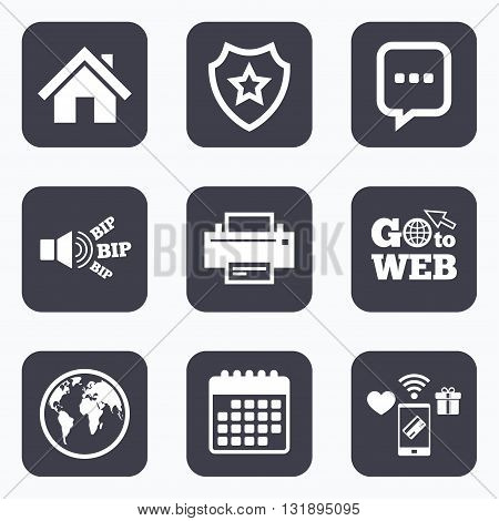 Mobile payments, wifi and calendar icons. Home main page and globe icons. Printer and chat speech bubble with suspension points sign symbols. Go to web symbol.