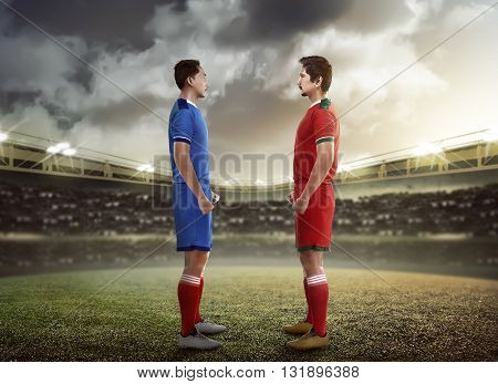 Two Football Player Facing Each Other