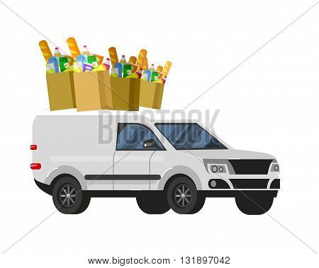 Concept illustration for Shop, supermarket. Vector supermarket delivery . Healthy eating and eco food in supermarket. Vector flat illustration for supermarket.