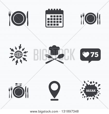 Calendar, like counter and go to web icons. Plate dish with forks and knifes icons. Chief hat sign. Crosswise cutlery symbol. Dining etiquette. Location pointer.