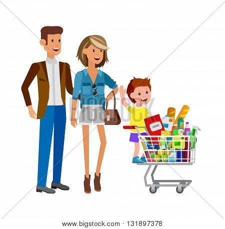Concept illustration for Shop, supermarket. Vector character family with food from the supermarket. Healthy eating and eco food in supermarket. Vector flat illustration for supermarket.