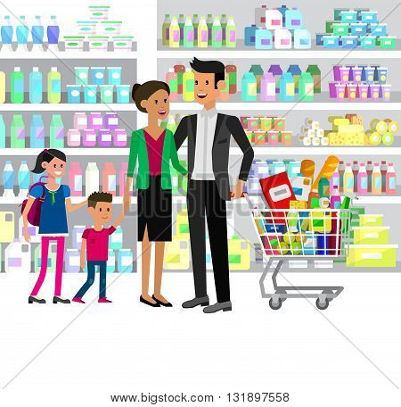 Concept illustration for Shop, supermarket. Vector character people in supermarket. Healthy eating and eco food in supermarket. Vector flat illustration for supermarket.